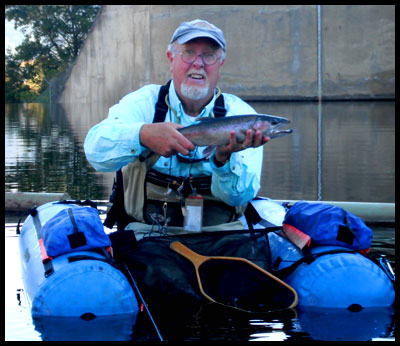 Tim in Super Cat Float tube iwth Steelhead